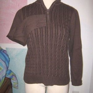 Brown Zip V Neck Collared Heavy Cable Knit Sweater